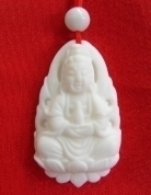 White Coral Kwan Yin Necklace