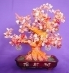 Red Carnelian Gem Tree with Coins