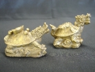 Pair of Brass Metal Dragon Tortoises