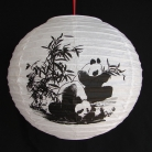 2 of Chinese White Paper Lanterns with Pictures of Bamboo and Panda