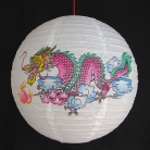 2 of Chinese White Paper Lanterns with Dragon Pictures