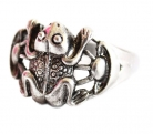Silver Money Frog Ring