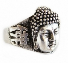Silver Ring with Buddha Head