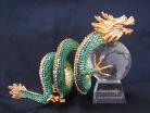 Bejeweled Green Dragon Carrying Crystal Globe