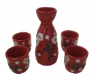 Red Saki Set with Plum Picture