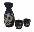 Dark Blue Saki Set with Bamboo Picture