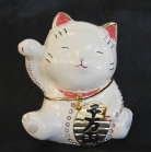 Bejeweled White Money Cat Figurine