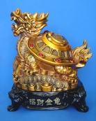 Golden Dragon Tortoise Statue