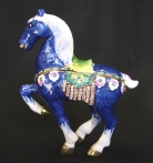 Bejeweled Blue Horse Statue