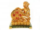 Golden Monkey Statue with Feng Shui Coin