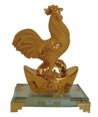 Rubber Finished Golden Rooster Statue with Big Ingot