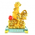 8 Inch Golden Rubber Finished Rooster Statue with Ingots