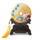 Genuine Jade Display Plate with Buddha Picture and Stand