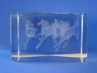 Laser Engraved 3D Horses in Crystal Glass Cube