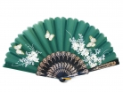 Black Slab Folding Hand Fan with Picture of Flowers and Butterflies
