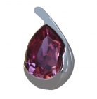 Drop Shape Pink Zircon Gem with 925 Sterling Silver Pendant