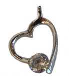 Heart Shape Clear Zircon Gem with 925 Sterling Silver Pendant