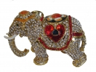 Bejeweled Cloisonne Elephant Statue with Trunk Down for Relationships