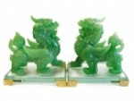 Pair of Green Pi Yao Statues